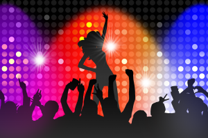 stage light silhouette arms up artwork women