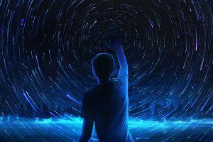 stars artwork space night starry night dark sky fantasy art digital blue night sky digital art