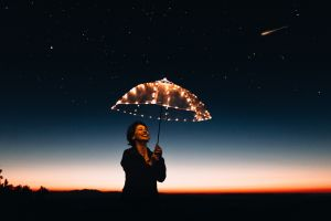 stars dark sky night lights night sky smiling women horizon umbrella comet dusk starry night