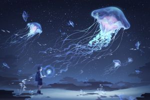 stars jellyfish night fish sky bright clouds