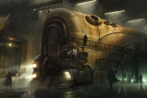 steam locomotive steampunk mist train people locomotive