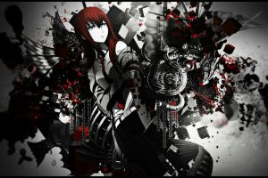 steins;gate makise kurisu abstract red scientists