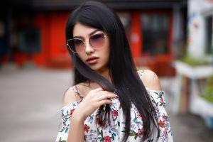 sunglasses long hair bare shoulders maksim romanov portrait women