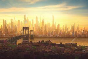 sunlight architecture spider-man: into the spider-verse skyline movies cityscape new york city sky brooklyn bridge
