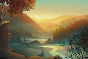 sunlight digital art nature road river landscape