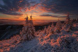 sunlight sunset snow landscape sun winter clouds nature