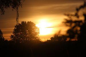 sunrise denmark power lines orange sky