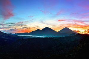 sunrise landscape mountains bali silhouette