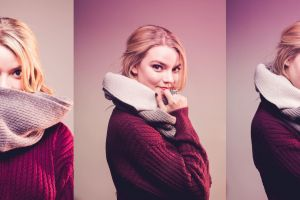 sweater actress women blonde simple background collage anya taylor-joy  scarf