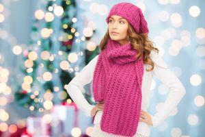 sweater women white sweater wool cap model brunette scarf christmas tree