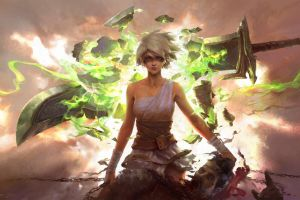 sword league of legends fantasy weapon riven (league of legends) digital art artwork draven weapon fantasy art