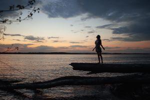 t-shirt women profile clouds horizon barefoot outdoors lake wood women outdoors water model log standing maxim gustarev