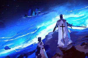 templar digital art fantasy art cape knight sword beach artwork sea night