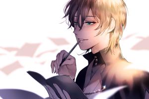 thinking green eyes paper books brunette anime boys male pen anime