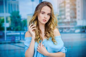 touching hair blue clothing blonde sergey efremov portrait women white nails model ombre hair blue clothes
