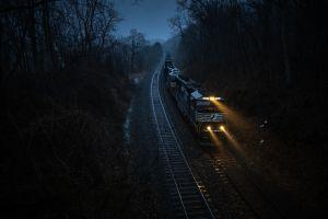 train vehicle dark night railway machine railroad track