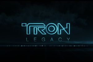 tron: legacy movies typography dark background