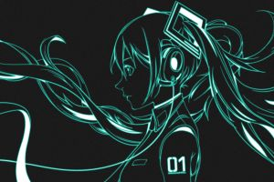 twintails headphones vocaloid digital art dual display dual monitors hatsune miku
