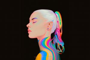 valentina remenar black background profile digital art colorful