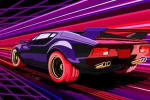 vaporwave 1980s colorful car de tomaso pantera gts fast-runner-2024