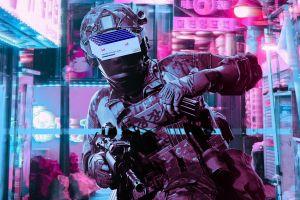 vaporwave ready or not police retrowave glitch art