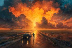 vehicle artwork sky car road rhads illustration sunset fantasy art painting