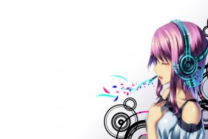 vocaloid headphones pink hair shirt megurine luka simple background closed eyes long hair anime girls