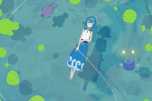 water anime lana (suiren) blue hair blue eyes pokémon anime girls