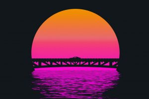 water digital art bridge car sun synthwave artwork