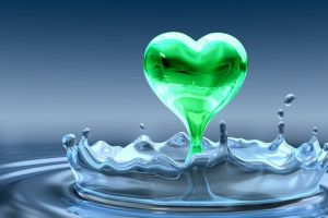 water drops water green heart
