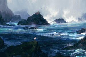 waves birds sea seagulls digital art artwork