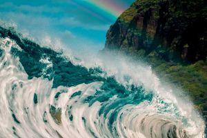 waves rainbows nature water sea
