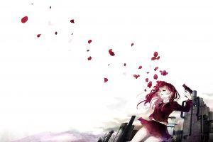 weapon sky factory anime anime girls original characters school uniform skirt long hair redhead pistol simple background