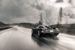 wet numbers black cars car clouds vehicle supercars koenigsegg road