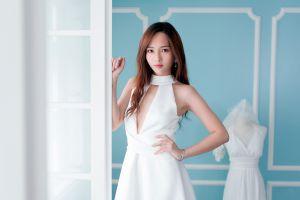 white dress model wedding dress brunette long hair women asian