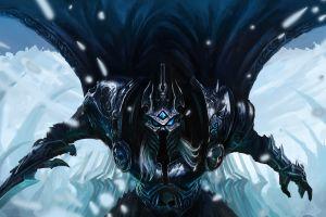 white hair crown snow glowing eyes long hair cloaks fantasy art world of warcraft chenbo lich king sword blue eyes weapon helmet armor