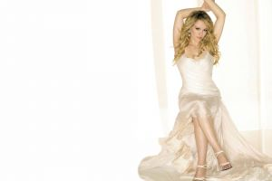 white white dress simple background hilary duff high heels