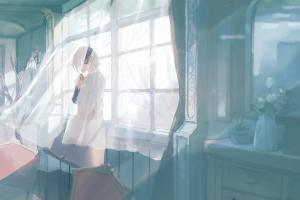 wind anime flowers window room smiling vase curtain