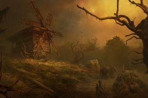 windmill fantasy art artwork dark fantasy