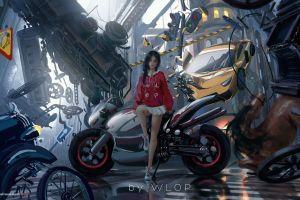 wlop digital digital prints civilization motorcycle
