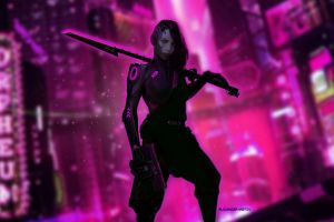 women artwork science fiction futuristic cyberpunk digital art