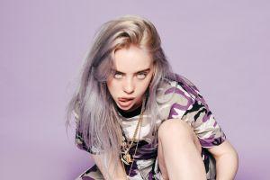 women billie eilish simple background singer drugs tongue out