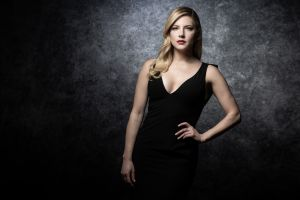 women blonde red lipstick actress long hair black dress katheryn winnick canadian hands on hips