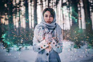 women blue eyes anton harisov brunette snow coats grey coat winter gloves women outdoors