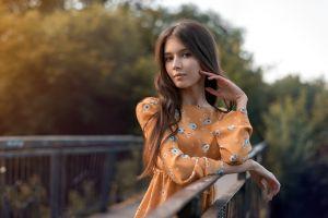 women brunette trees brown eyes dress women outdoors orange dress long hair depth of field vyacheslav scherbakov model bridge