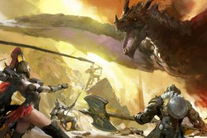 women dragon digital art fantasy art artwork fantasy weapon