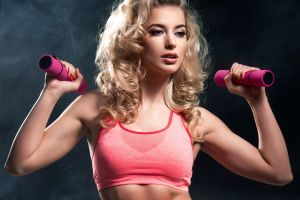 women fitness model working out blonde