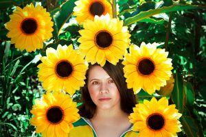 women flowers portrait sunflowers