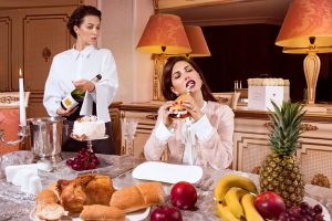 women humor luxury food eating