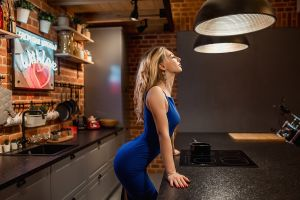 women kitchen tight dress blue dress blonde red nails closed eyes